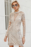 V-neck Mock Neck Plunging Neck Sequined Illusion Hidden Back Zipper Beaded Long Sleeves Bodycon Dress