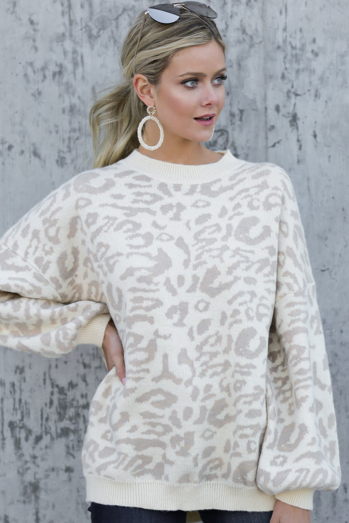 1 The Grey Leopard Waffle Split Neck Thermal at reddressboutique.com