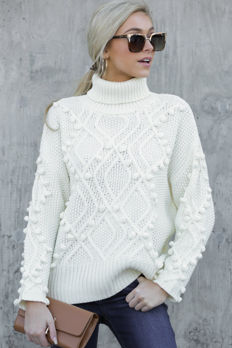 As Luck Would Have Knit Cream Turtleneck Sweater