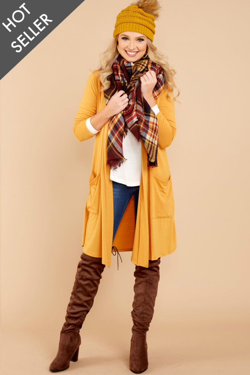 7 Fall Motto Goldenrod Yellow Cardigan at reddressboutique.com
