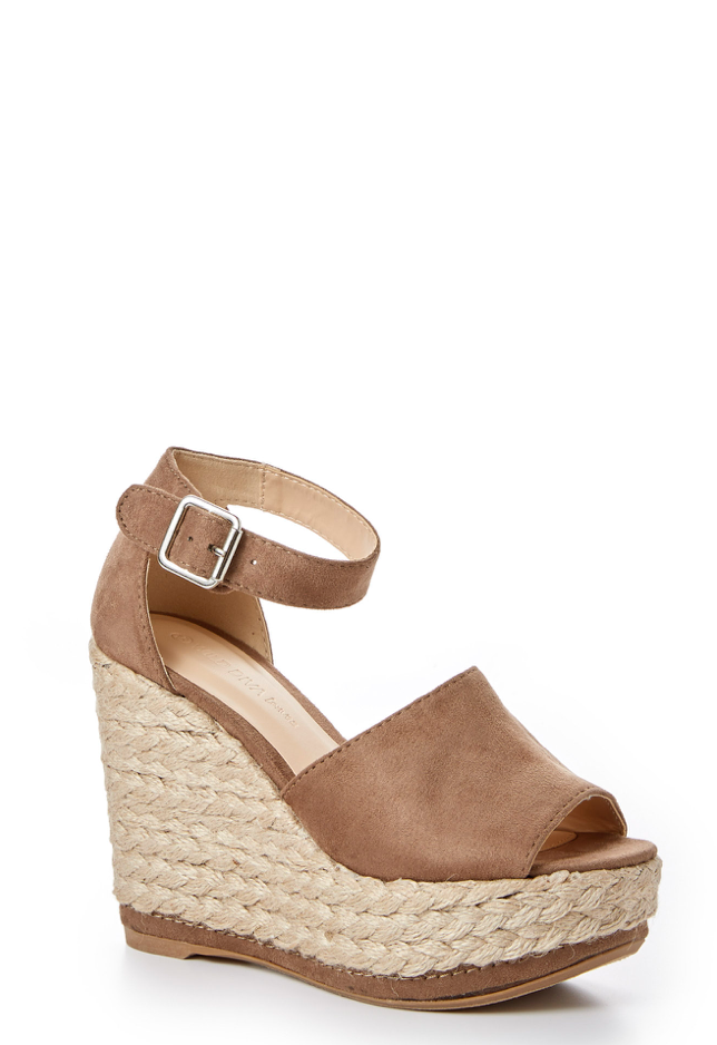 1 On The Upgrade Taupe Platform Wedge at reddressboutique.com