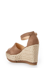 3 On The Upgrade Taupe Platform Wedge at reddressboutique.com