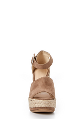2 On The Upgrade Taupe Platform Wedge at reddressboutique.com