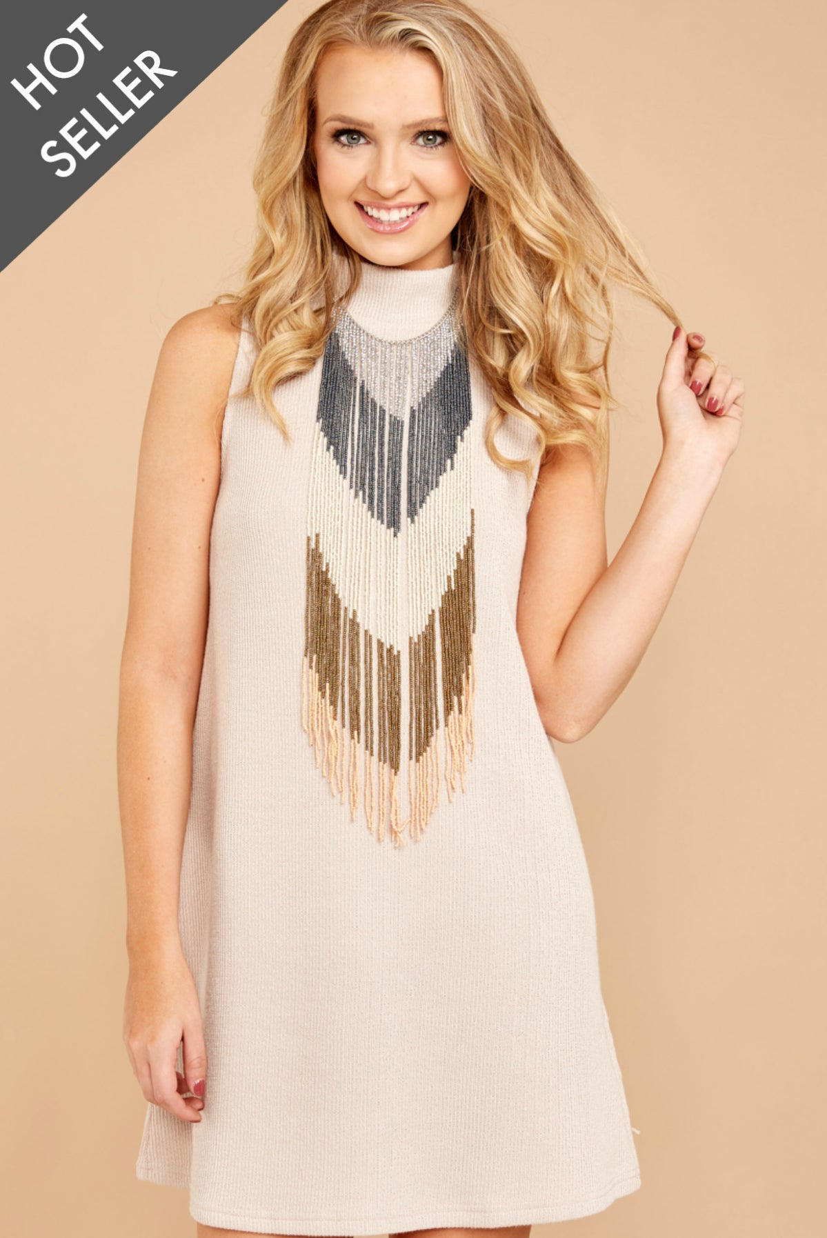 3 While You Can Light Taupe Knit Dress at reddressboutique.com