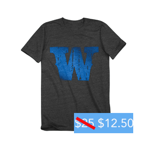 "Watershed 2014 Blue ""W"" Logo Charcoal Tee"