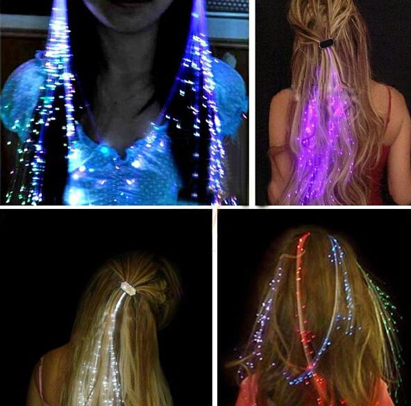 Clip On Fiberoptic Hair Weave Extensions Light Up Rave And
