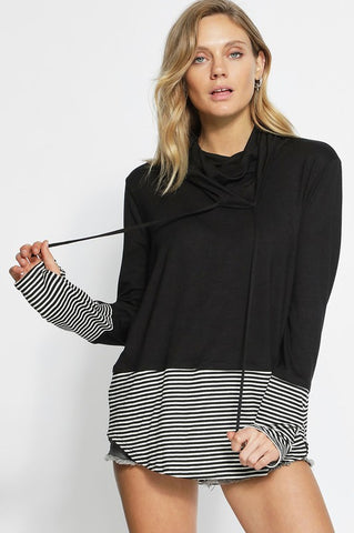 Black Cowl Neck Top w/ Stripe Accent - Creek & Co