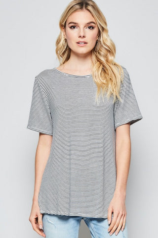 Navy Striped Basic Tee