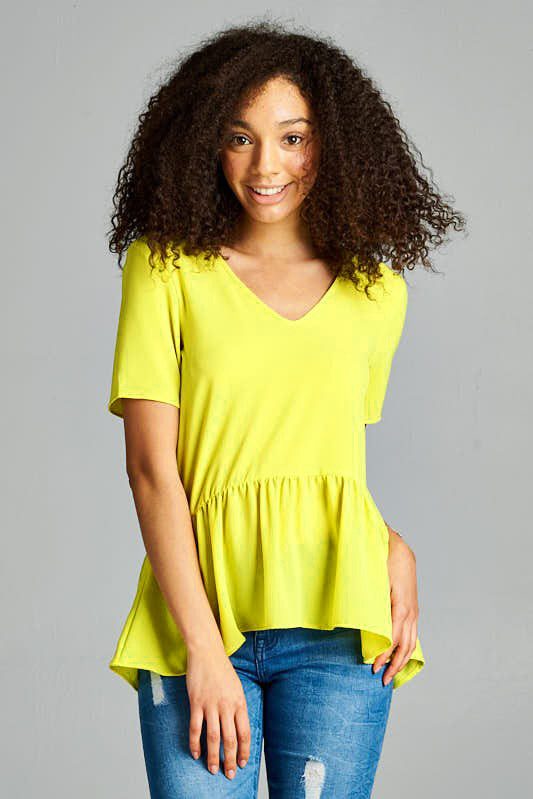 Lime Peplum Top - Creek & Co
