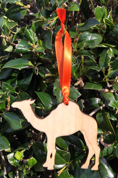 Wood Camel Ornament with Orange Ribbon - Creek & Co