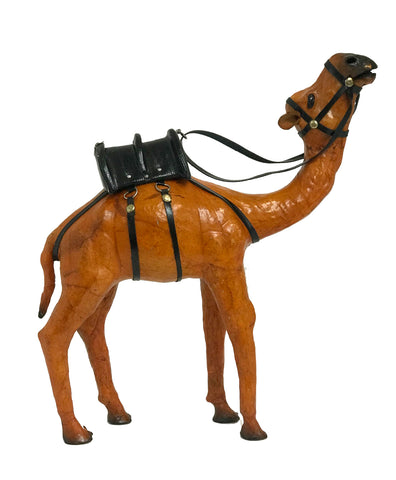"12"" Leather Camel Figurine"