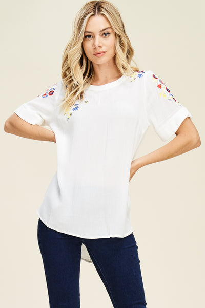 Embroidered Cap Sleeve Top - Creek & Co