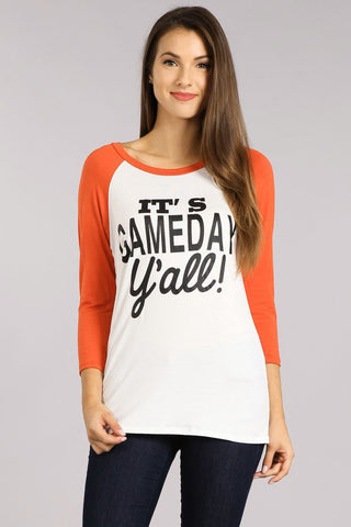 Orange Game Day Baseball Tee