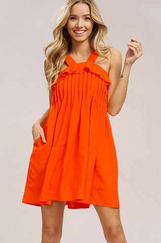 Orange Sleeveless Pleated Dress