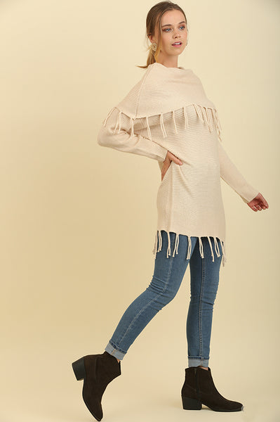 Cream Fringe Fold Over Sweater