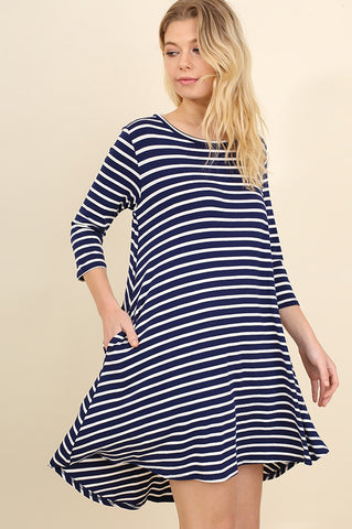 Navy and Ivory Striped Tee Dress