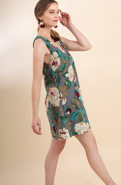 Grey Floral Print Shift Dress - Creek & Co