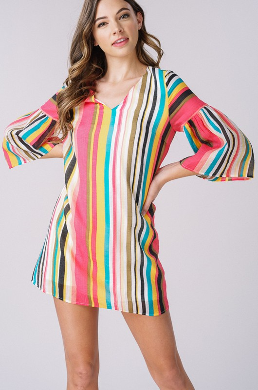Tropical Striped Bell Sleeve Dress