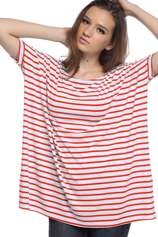 Orange Stripe Cap Sleeve Piko - Creek & Co