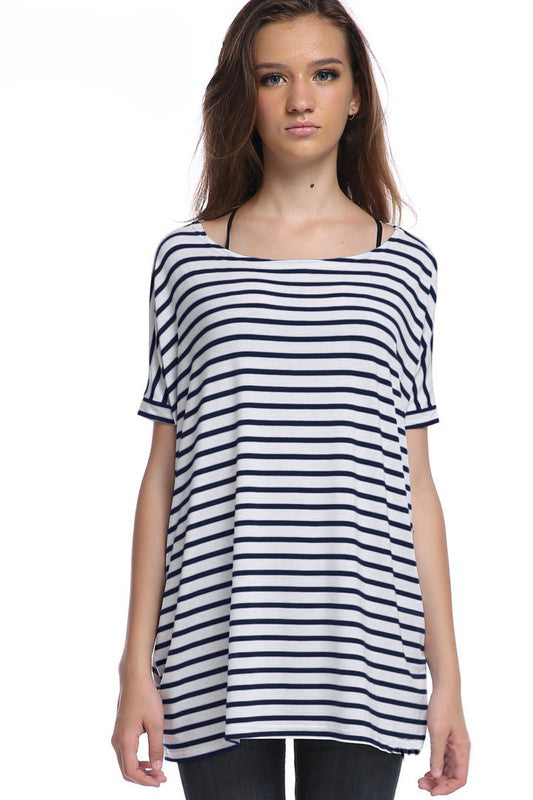Black Stripe Cap Sleeve Piko - Creek & Co