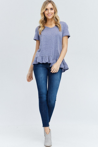 Navy Uneven V-Neck Top