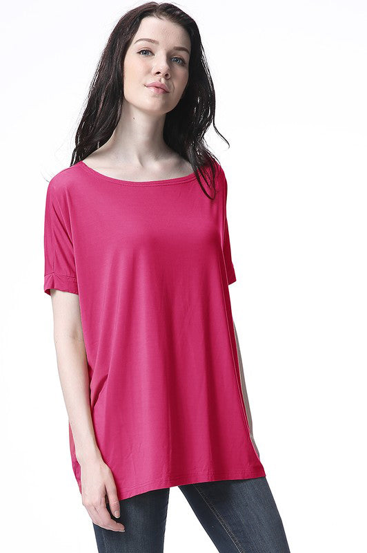 Fuschia Cap Sleeve Piko - Creek & Co
