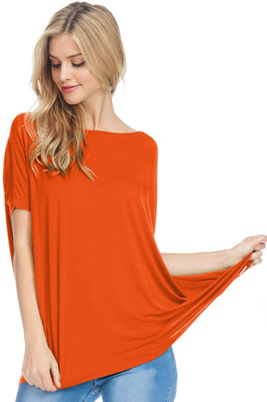 Orange Cap Sleeve Piko - Creek & Co
