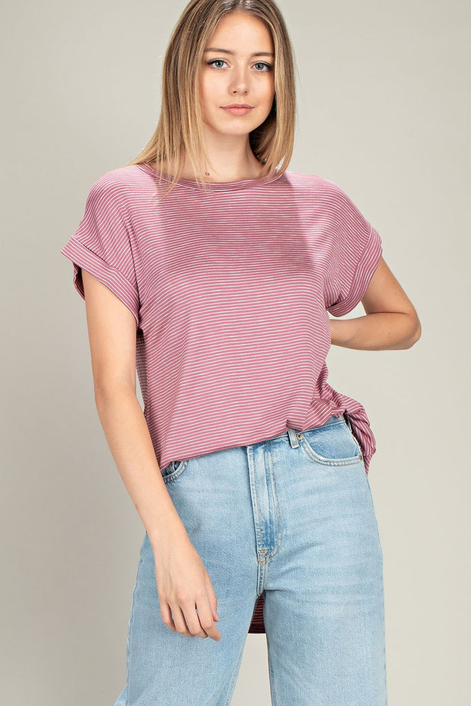 Mauve Striped T-Shirt - Creek & Co