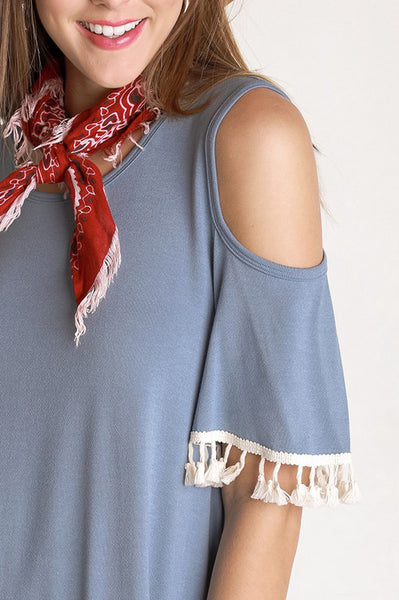 Blue Cold Shoulder Tassel Top - Creek & Co