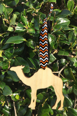 Wood Camel Ornament with Chevron Ribbon
