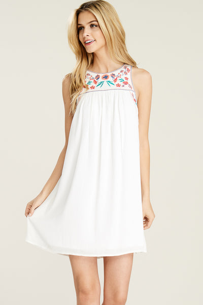 Embroidered Sleeveless Dress