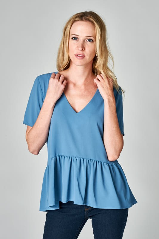 Blue Peplum Top - Creek & Co
