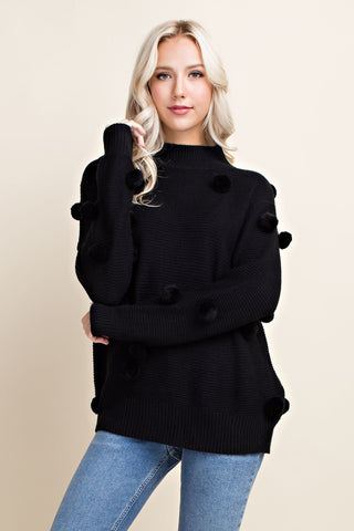 Black Pom Pom Sweater