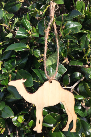 Wood Camel Ornament with Twine