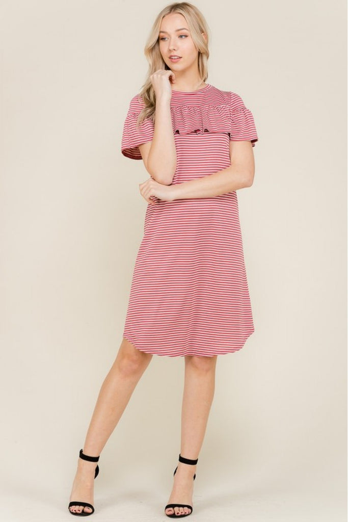 Mauve and Cream Stripe Shirring Dress