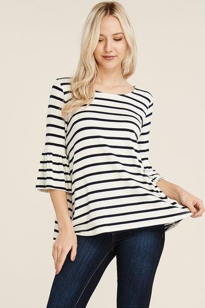 Navy Striped Ruffle Sleeve Top - Creek & Co