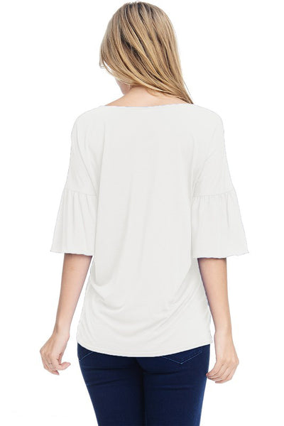 Off White Ruffle Sleeve Piko