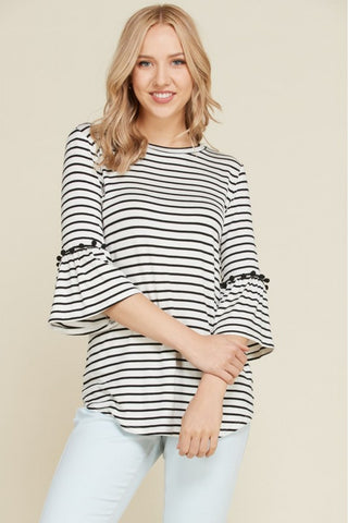 Pom Pom Trim Bell Sleeve Top