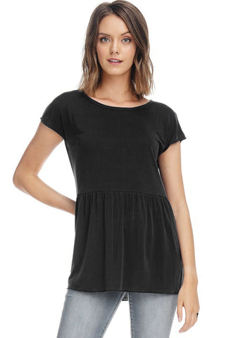 Black Ruffle Short Sleeve Piko