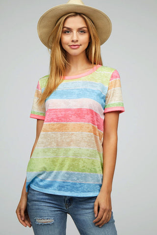 Multi Color Stripe Tee