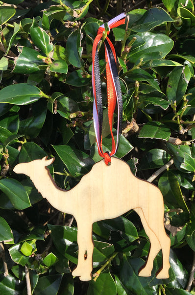Wood Camel Ornament with Multi Color Ribbon - Creek & Co