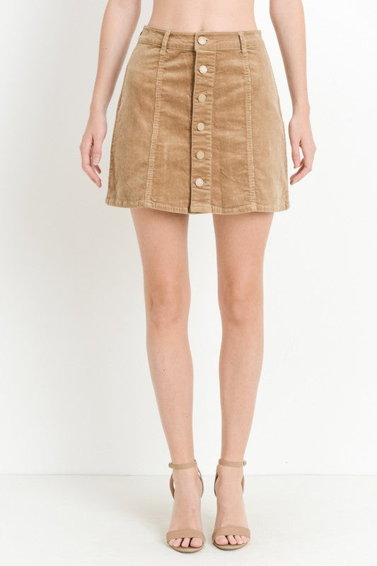 Tan Corduroy Button Down Skirt - Creek & Co