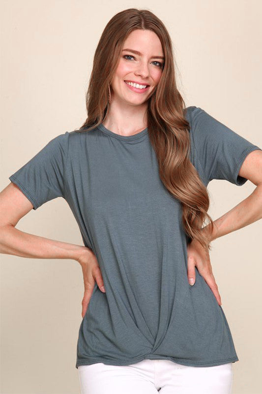 Green Pleated Tee - Creek & Co