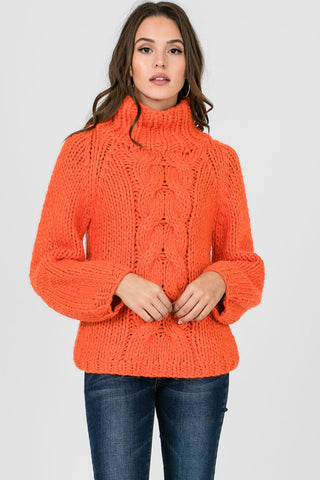 Orange Chunky Cable Knit Sweater