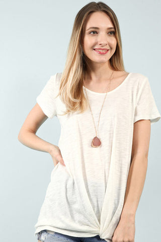 Ivory Scoop Neck Knot Top - Creek & Co