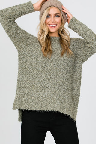 Dusty Olive Eyelash Sweater