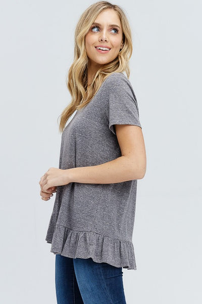 Charcoal Uneven V-Neck Top - Creek & Co