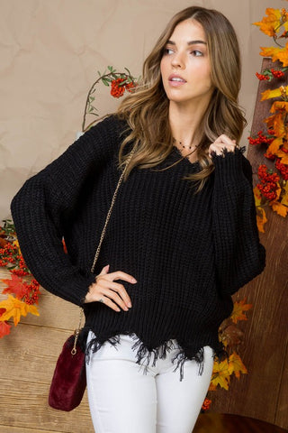 Black Frayed V-Neck Sweater