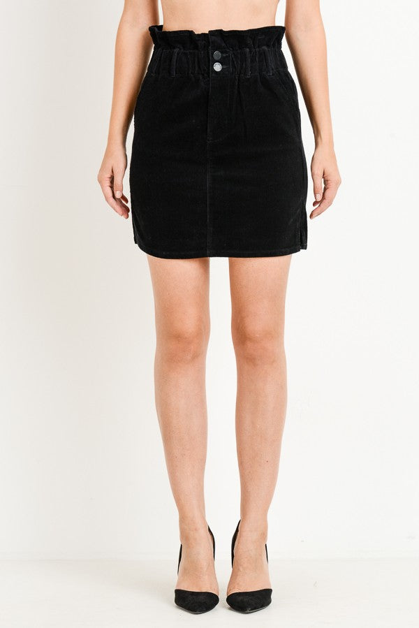 Black Paper Bag Corduroy Skirt - Creek & Co