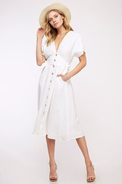 White Button Down Dress - Creek & Co